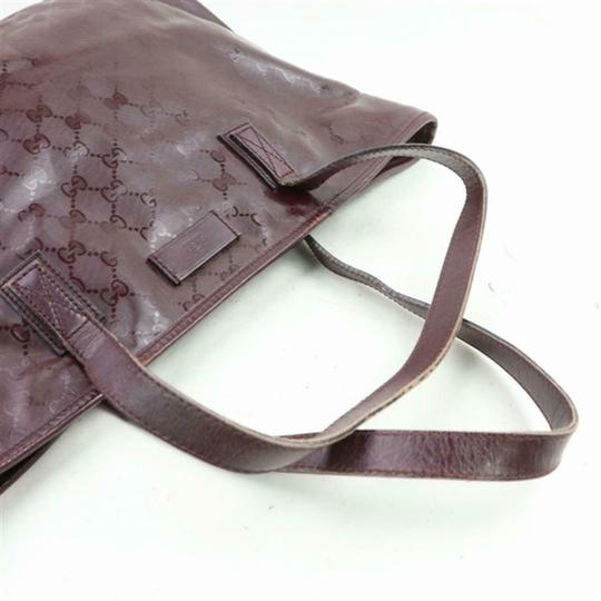 Gucci Nylon Patent Leather Leather Canvas Tote in Dark Red, Bordeaux Image 2