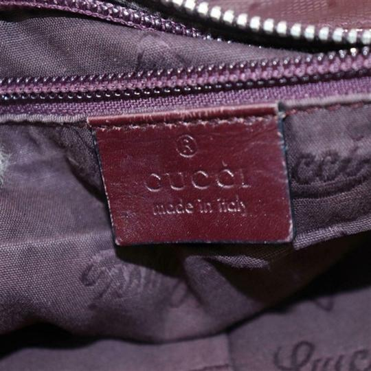 Gucci Nylon Patent Leather Leather Canvas Tote in Dark Red, Bordeaux Image 4