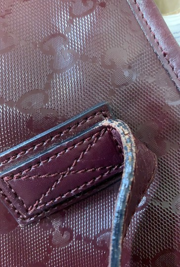 Gucci Nylon Patent Leather Leather Canvas Tote in Dark Red, Bordeaux Image 9