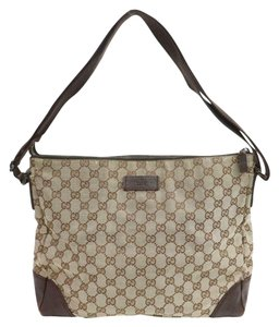Gucci Monogram Canvas Leather Cross Body Bag