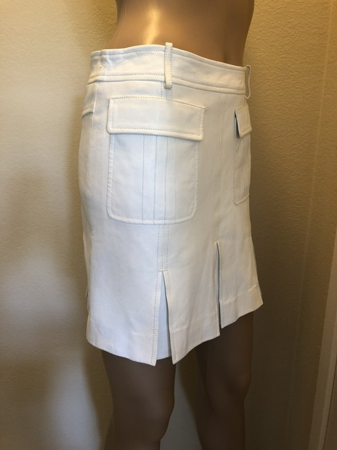 Versace Gucci Skirt Leather Gucci Skirt Straight Pants White Image 1