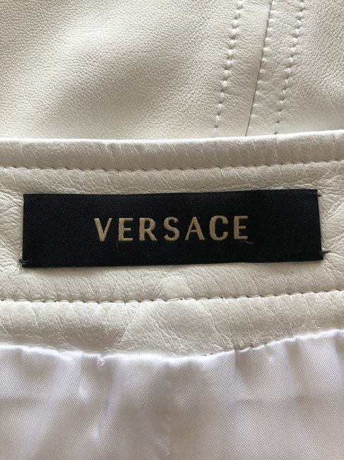 Versace Gucci Skirt Leather Gucci Skirt Straight Pants White Image 4