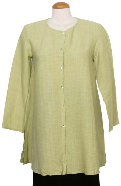 Preload https://img-static.tradesy.com/item/25844590/eileen-fisher-pear-green-xs-linen-basket-crepe-long-shirt-blouse-size-2-xs-0-1-650-650.jpg