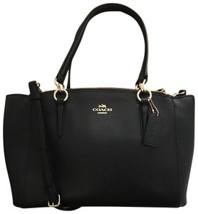 Coach Leather Crossbody Strap Satchel in Black with gold hardware