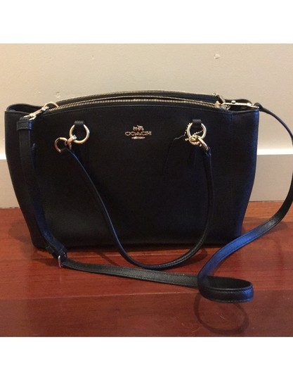 Coach Leather Crossbody Strap Satchel in Black with gold hardware Image 2