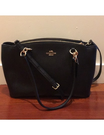 Coach Leather Crossbody Strap Satchel in Black with gold hardware Image 4