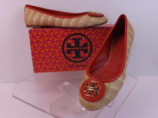 Tory Burch Beige Yellow Red Flats Image 1