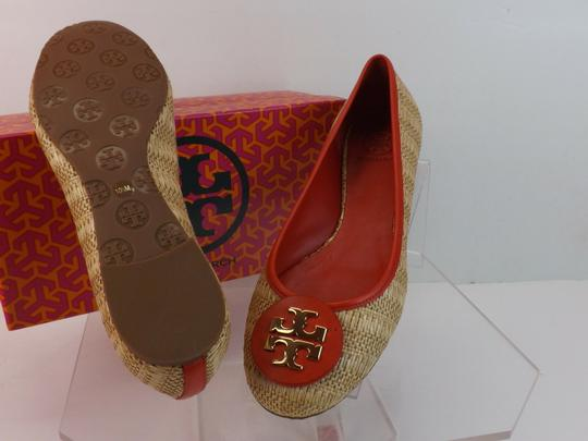 Tory Burch Beige Yellow Red Flats Image 3