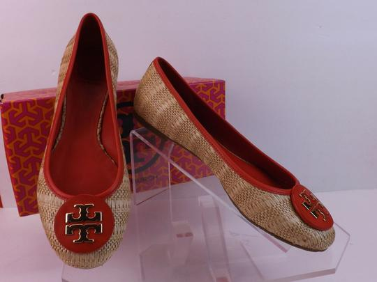 Tory Burch Beige Yellow Red Flats Image 5