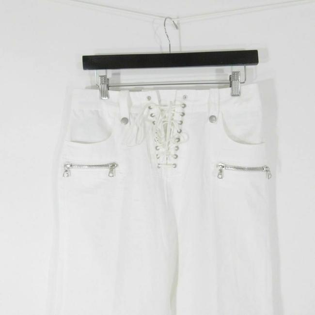 Unravel Leather Lace Up Flare Pants White Image 1