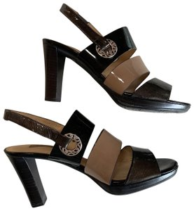 Brighton Patent Leather Metals Nude and Black Sandals