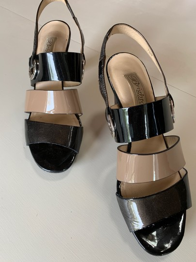 Brighton Patent Leather Metals Nude and Black Sandals Image 1