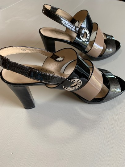 Brighton Patent Leather Metals Nude and Black Sandals Image 2