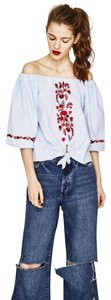 Zara Cotton Embroidered Boho Tie Floral Top Blue