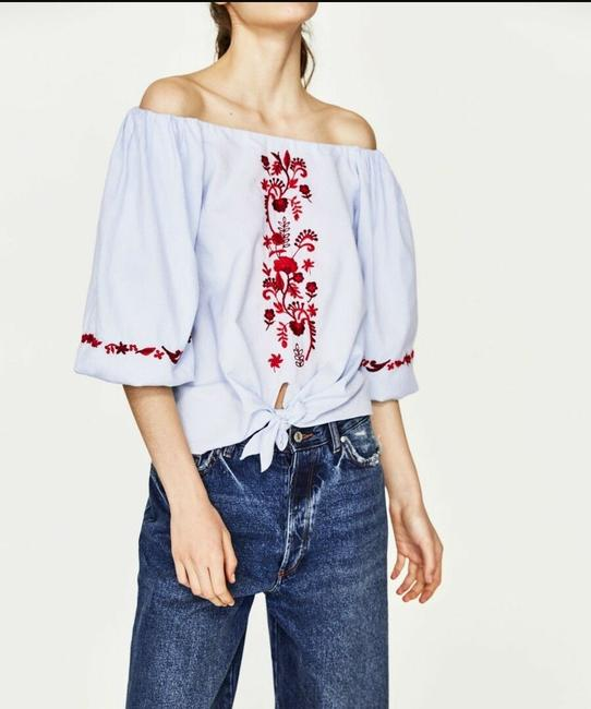 Zara Cotton Embroidered Boho Tie Floral Top Blue Image 1