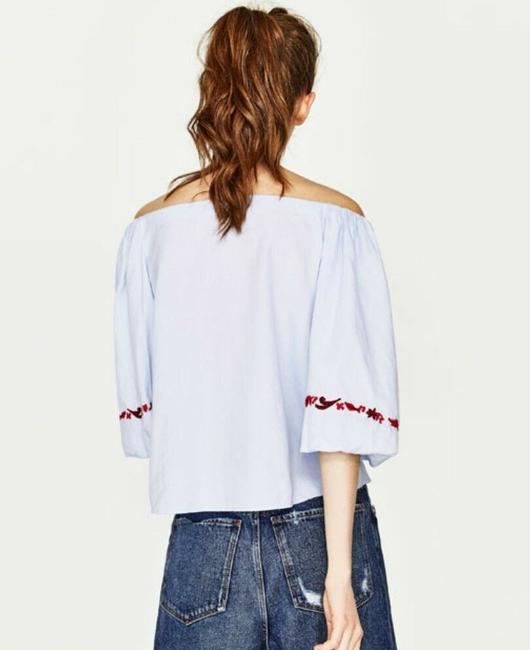 Zara Cotton Embroidered Boho Tie Floral Top Blue Image 2