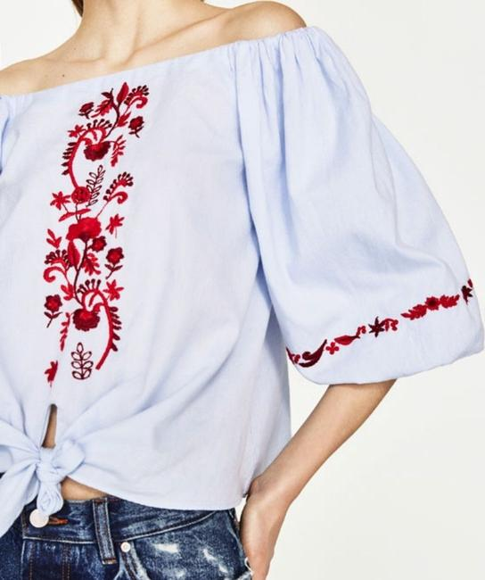 Zara Cotton Embroidered Boho Tie Floral Top Blue Image 4