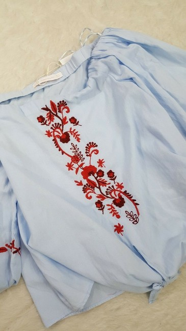 Zara Cotton Embroidered Boho Tie Floral Top Blue Image 8
