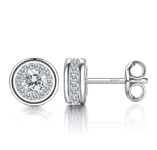 Other WHITE SAPPHIRE HALO STUDS EARRINGS Image 2
