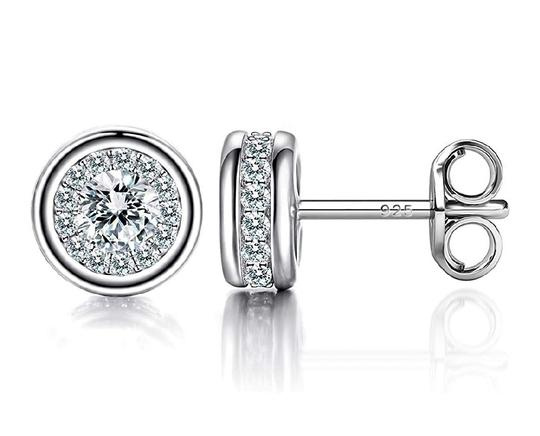 Other WHITE SAPPHIRE HALO STUDS EARRINGS Image 4
