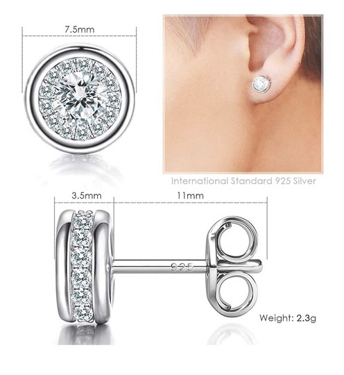 Other WHITE SAPPHIRE HALO STUDS EARRINGS Image 3