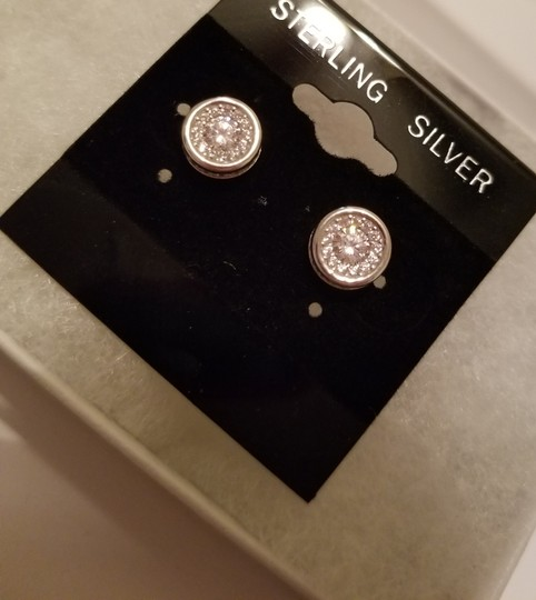 Other WHITE SAPPHIRE HALO STUDS EARRINGS Image 8