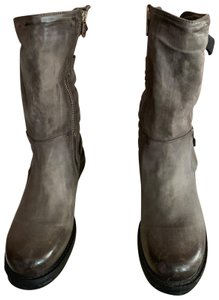 A.S.98 Moto Trendy Distressed Leather Buckles Midcalf Gray Boots