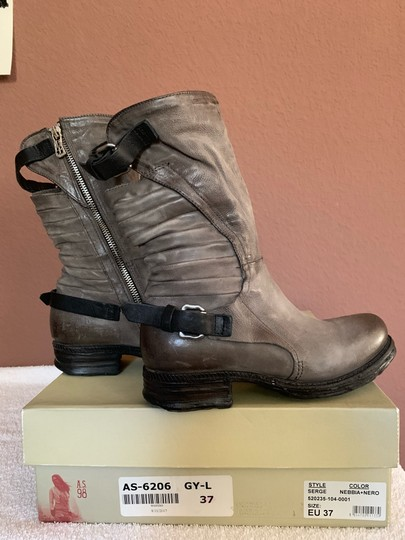 A.S.98 Moto Trendy Distressed Leather Buckles Midcalf Gray Boots Image 1