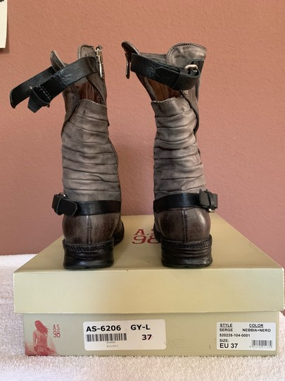 A.S.98 Moto Trendy Distressed Leather Buckles Midcalf Gray Boots Image 2