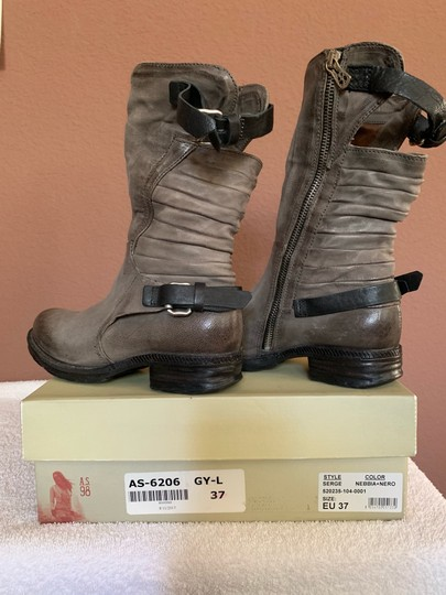 A.S.98 Moto Trendy Distressed Leather Buckles Midcalf Gray Boots Image 4