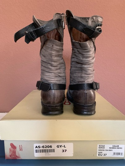 A.S.98 Moto Trendy Distressed Leather Buckles Midcalf Gray Boots Image 5