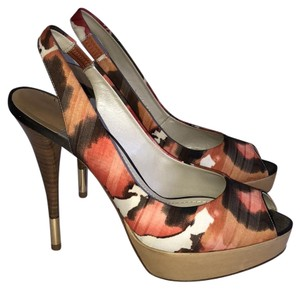 sale retailer 02e9a 31c63 Baldan Red Orange Cream Watercolor Platform Peeptoe Slingback Pumps Size EU  38.5 (Approx. US 8.5) Regular (M, B) 78% off retail
