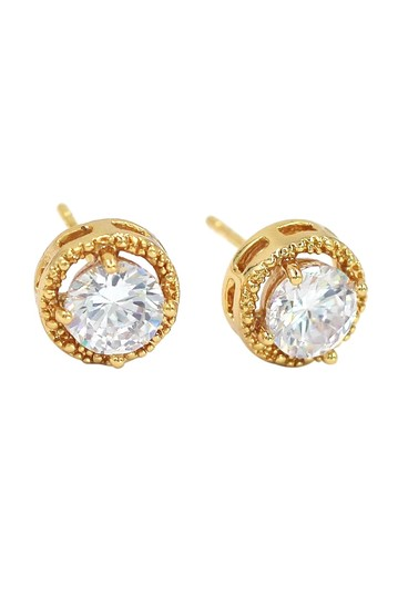 Ocean Fashion Round gold crystal earrings Image 1
