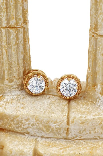 Ocean Fashion Round gold crystal earrings Image 2