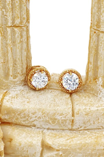 Ocean Fashion Round gold crystal earrings Image 3