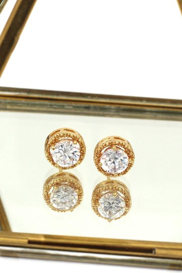 Ocean Fashion Round gold crystal earrings Image 4