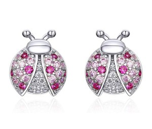 Other MICRO PAVE PINK LADYBUG STUD 9MM EARRINGS