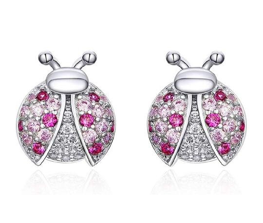 Other MICRO PAVE PINK LADYBUG STUD 9MM EARRINGS Image 2