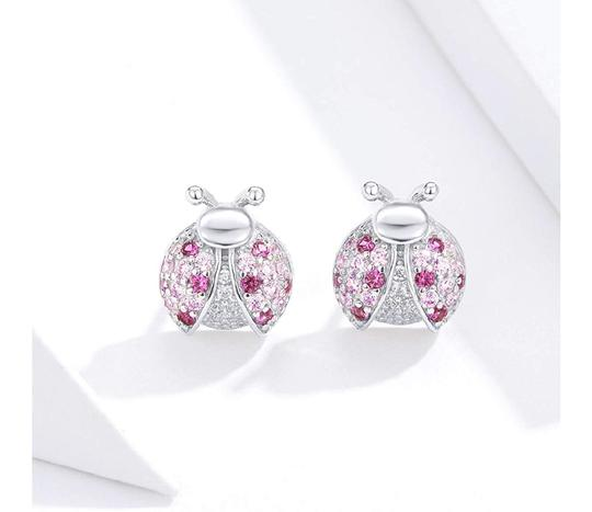Other MICRO PAVE PINK LADYBUG STUD 9MM EARRINGS Image 3