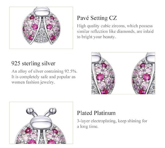 Other MICRO PAVE PINK LADYBUG STUD 9MM EARRINGS Image 4