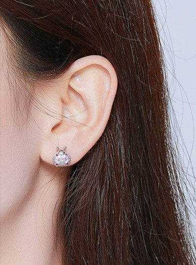 Other MICRO PAVE PINK LADYBUG STUD 9MM EARRINGS Image 5