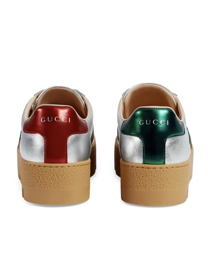 Gucci Gg Espadrille Silver Athletic Image 3