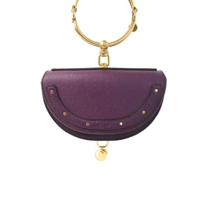Item - Nile Faye Mini Minaudiere Dark Purple Calfskin Leather Cross Body Bag