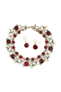 Ocean Fashion Noble gold red crystal earrings necklace set