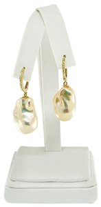 Ezra Kassin Diamond Baroque Yellow Pearl 14Kt Gold Earrings Certified 1 950 914373
