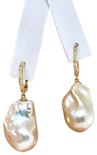 Ezra Kassin Diamond Baroque Yellow Pearl 14Kt Gold Earrings Certified 1 950 914373 Image 1