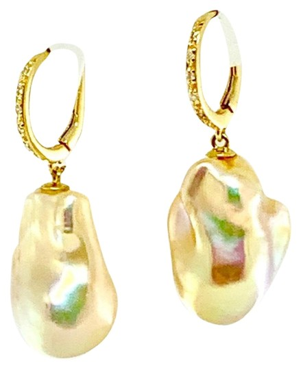 Ezra Kassin Diamond Baroque Yellow Pearl 14Kt Gold Earrings Certified 1 950 914373 Image 2