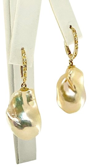 Ezra Kassin Diamond Baroque Yellow Pearl 14Kt Gold Earrings Certified 1 950 914373 Image 3