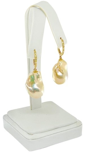 Ezra Kassin Diamond Baroque Yellow Pearl 14Kt Gold Earrings Certified 1 950 914373 Image 4