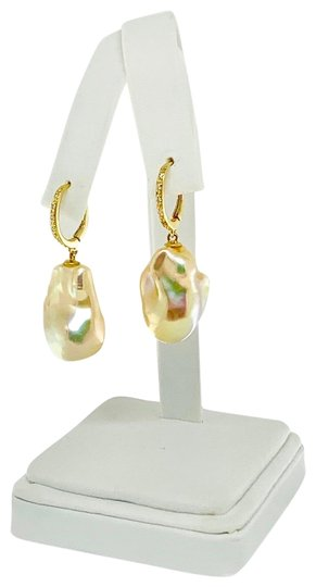 Ezra Kassin Diamond Baroque Yellow Pearl 14Kt Gold Earrings Certified 1 950 914373 Image 5